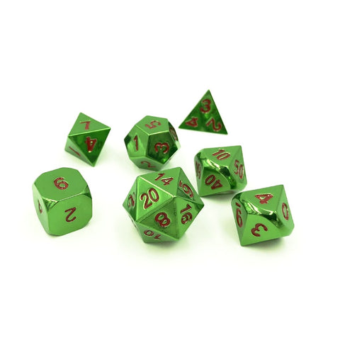 Azure Green & Red Metal Dice Set