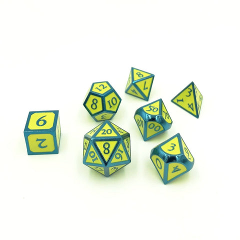 Metal Imperial Hero Yellow Blue Dice Set with Display Box