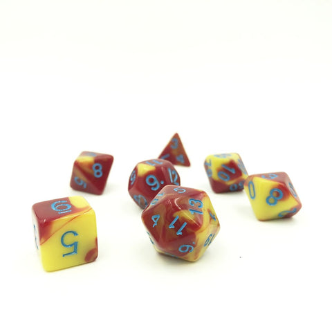Swirl Red & Yellow Polymer Dice Set