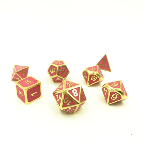 Metal Imperial Glow in the Dark Red Dice Set with Display Box