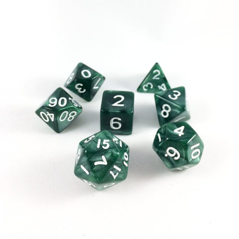 Marble Green RPG Dice Set