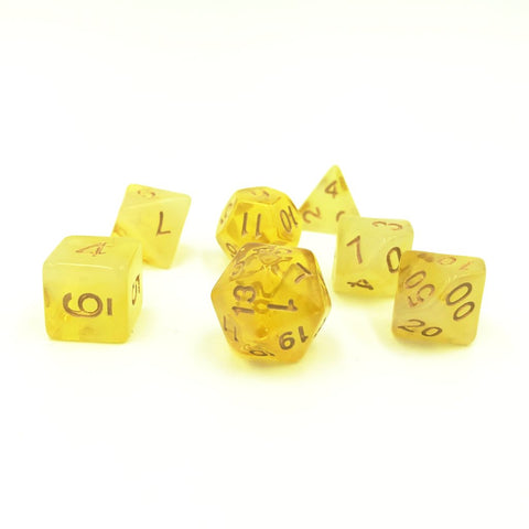 Milky Yellow Polymer Dice Set