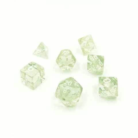 Translucent Crystal Clear Polymer Dice Set