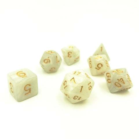 Pearlescent Pearl White Polymer Dice Set