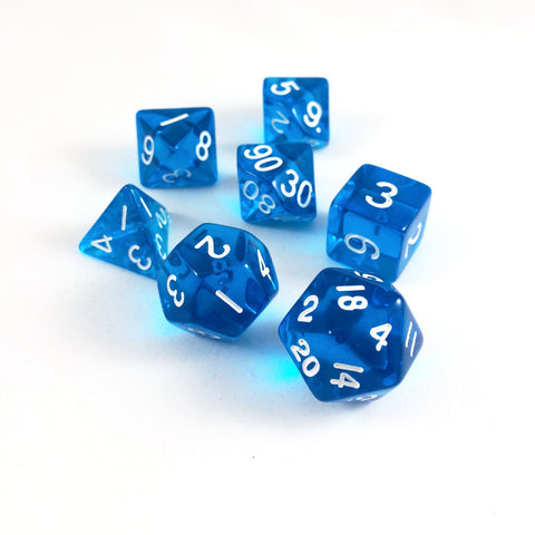 Translucent Blue RPG Dice Set