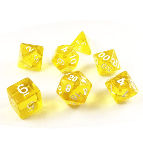Translucent Honey Yellow Plastic Dice Set