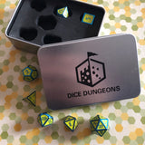 Metal Yellow and Blue Dice Set for D&D