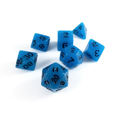 Glow in the Dark Blue RPG Dice Set