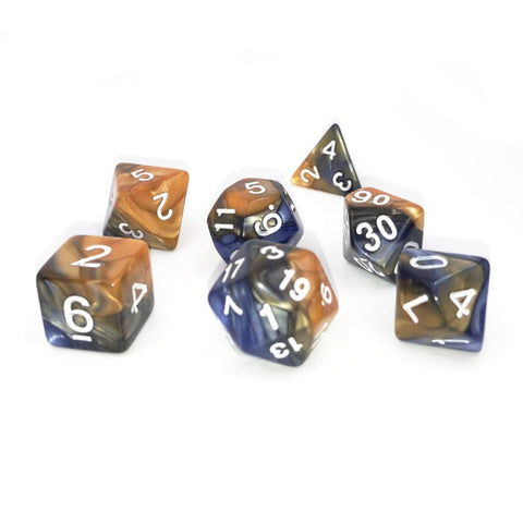 Swirl Dark Blue & Gold Polymer RPG Dice Set