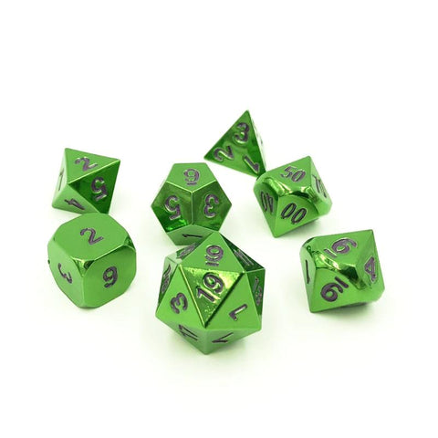 Green & Purple Metal Dice Set