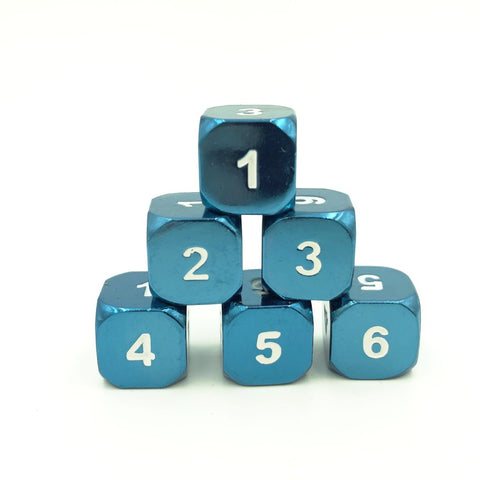 Metal Radiant Blue d6 Dice Set