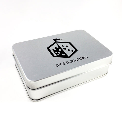 Dice Dungeons Silver Dice Box with Logo Closed