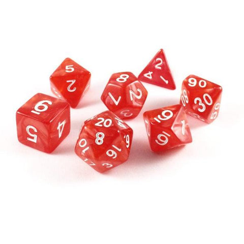 Marble Polymer Red Dice Set