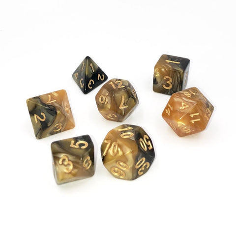 Swirl Black  & Gold Polymer Dice Set