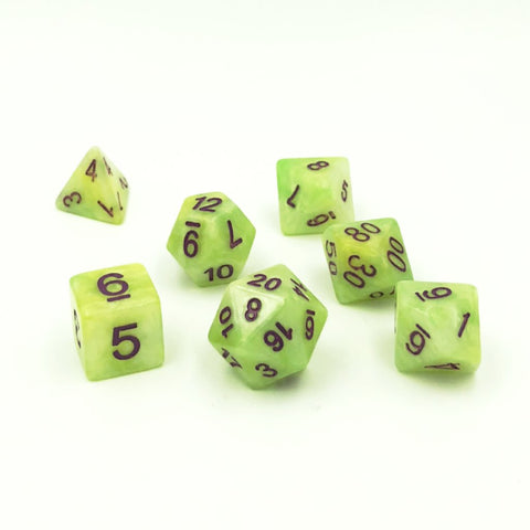 Pearlescent Green Polymer Dice Set