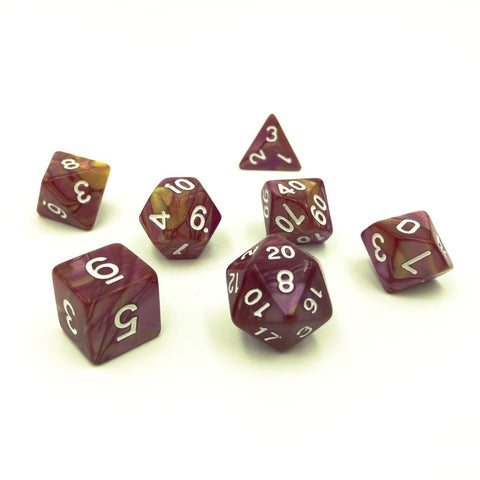 Swirl Rose & Yellow Polymer Dice Set
