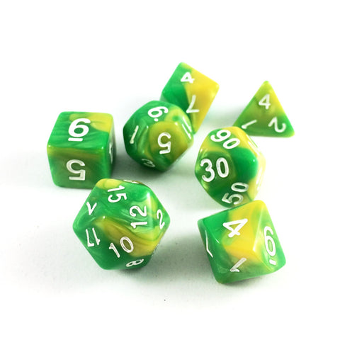 Mixed Color Green and Yellow RPG Dice Set