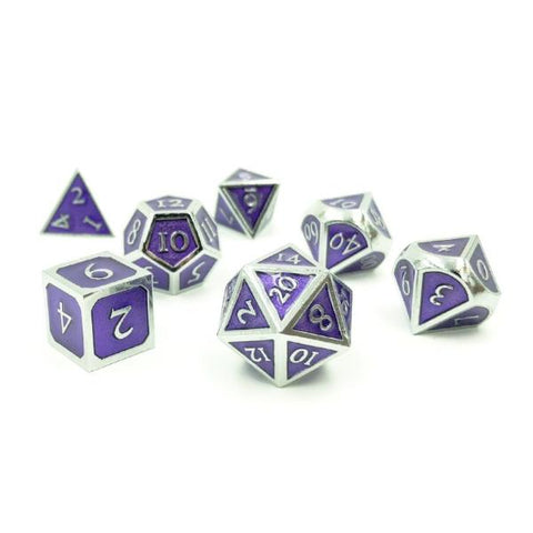 Metal Imperial Magi Purple Dice Set with Display Box