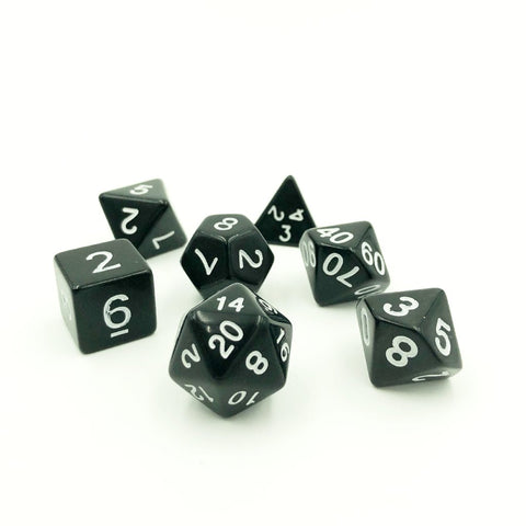 Bold Black Dice Set for RPG Games