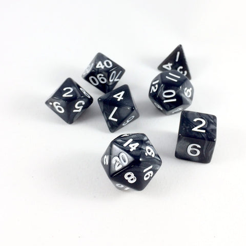 Marble Black RPG Dice Set