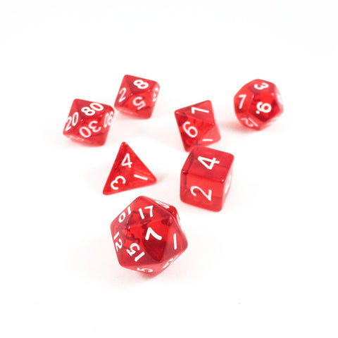Translucent Red Plastic Dice Set