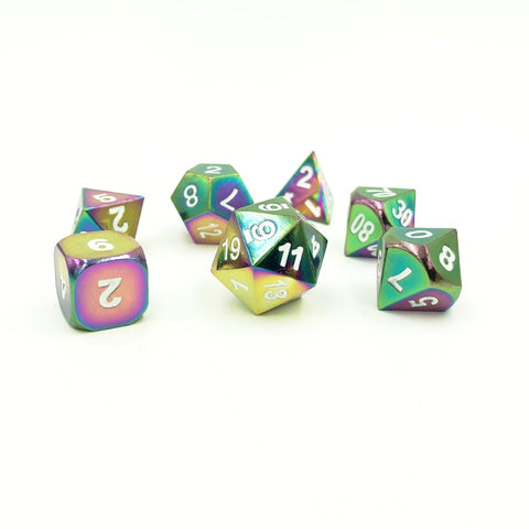 Metal Rainbow Color Oil Dice Set for D&D