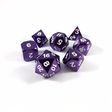 Solid metal rpg dice with purple finish and white numberings