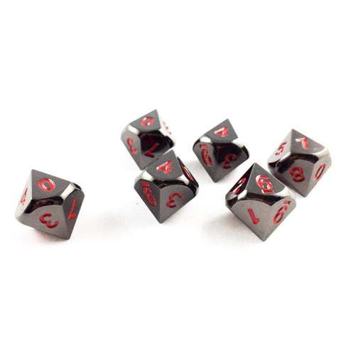 Metal Black Ember d10 Dice Set