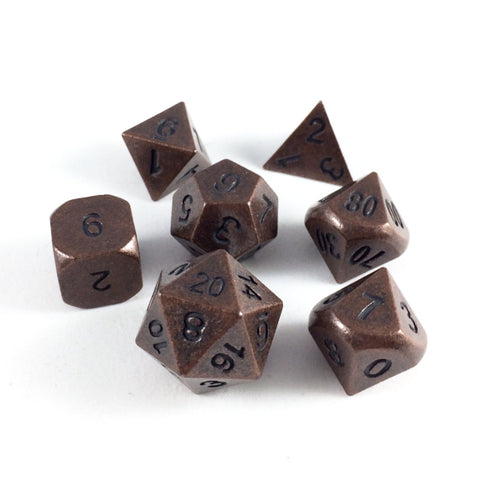 Solid Metal Primordial Copper RPG Dice Set
