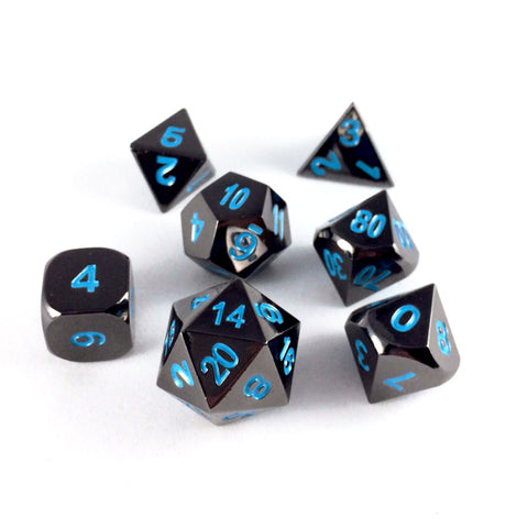 Metal Black Frost Dice Set with Display Box