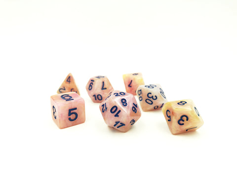 Pearlescent Peach Polymer Dice Set