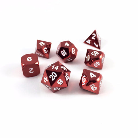 Metal RPG dice set - red with white numbering