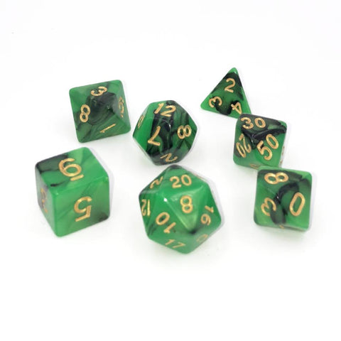 Swirl Black & Green Polymer Dice Set