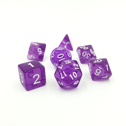 Translucent Purple Polymer Dice Set