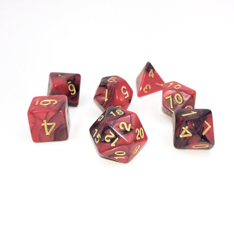 Red & Black Polymer RPG Dice Set