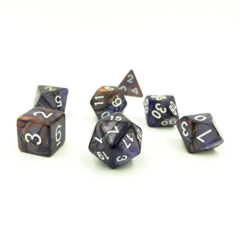 Swirl Copper & Purple Polymer Dice Set