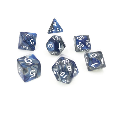 Silver & Blue Polymer RPG Dice Set