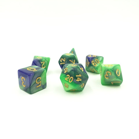 Swirl Deep Purple & Green Polymer Dice Set