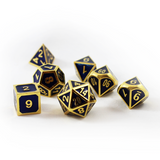 Metal Imperial Blue Gold Dice Set with Display Box