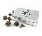 Metal Primordial Gold Dice Set with Included Box