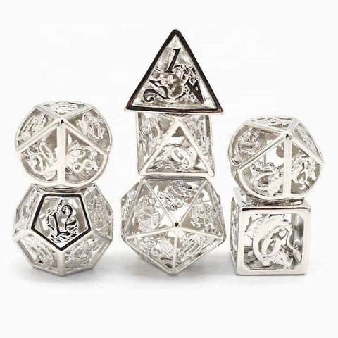 Hollow sterling silver plated brass dice with dragon design.