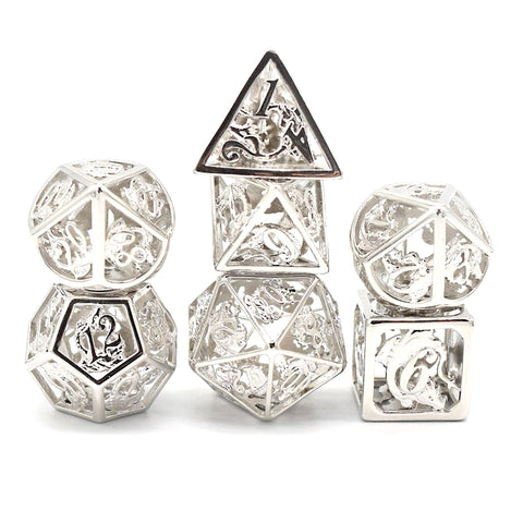 Hollow sterling silver dice set. With dragon design.