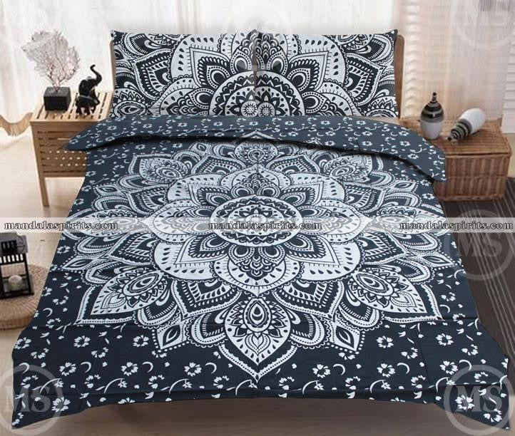 King Black Silver Mandala Bed Set Kp64 Mandalaspirits
