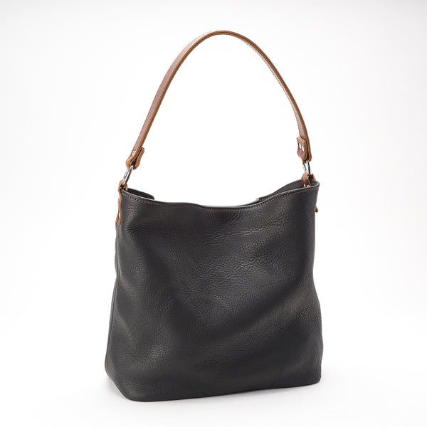 Milan Black Buffalo Leather Bucket Bag