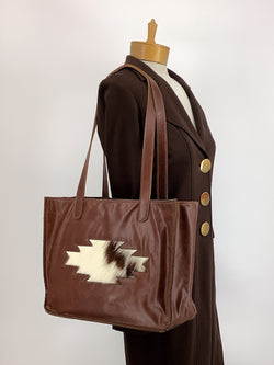 Abilene Navajo Cross Hair-on Leather Tote