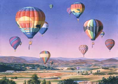 Balloons over San Dieguito - Matted Print