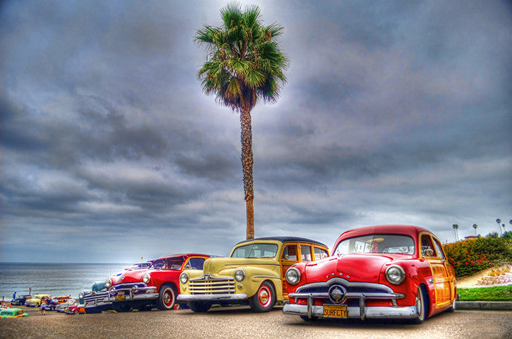 Woodie Car Show at Doheny State Beach with Palm Tree