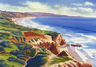 Flat Rock & Bluffs at Torrey Pines - Matted Print
