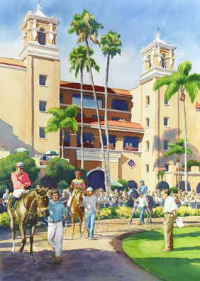 New Paddock at Del Mar - Matted Print