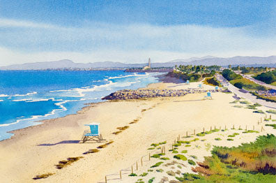Ponto Beach Carlsbad California - Matted Print